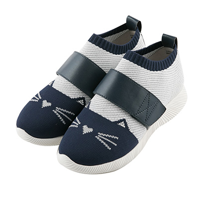 BESO 炫彩貓咪 束帶輕量飛織休閒鞋~藍