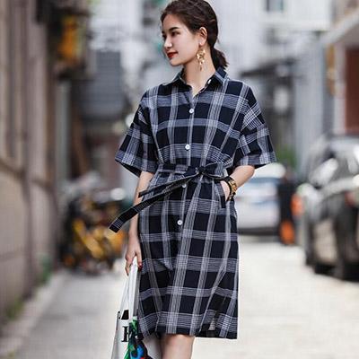 復古翻領格子五分袖洋裝 (格子)-Kugi Girl