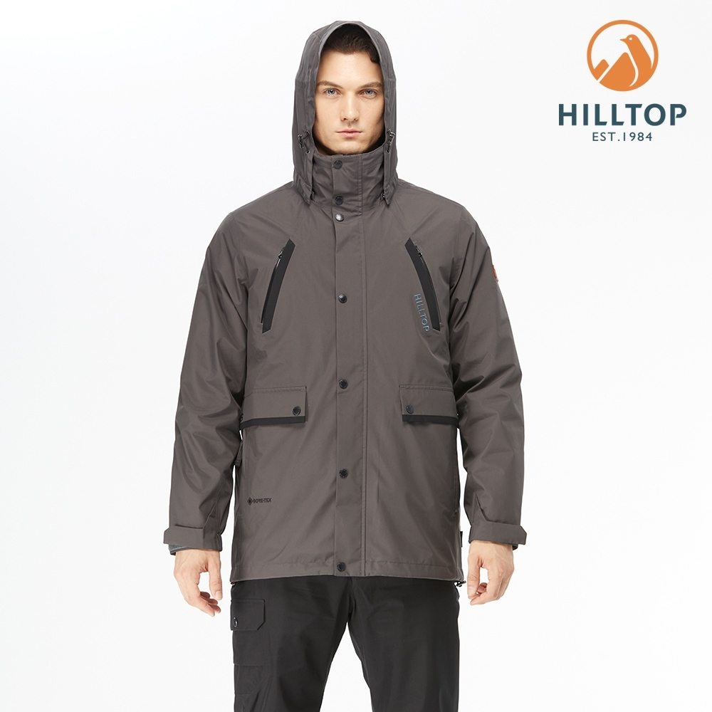 【hilltop山頂鳥】男款GORE-TEX防水透氣二合一羽絨外套F22M04鐵灰