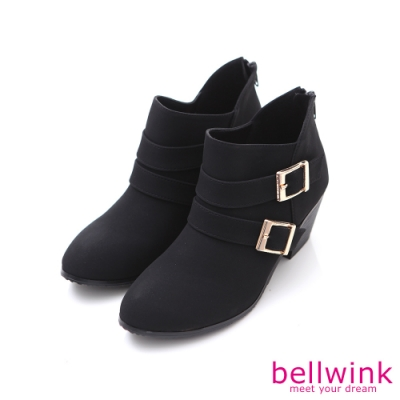bellwink 小V金屬後拉鍊低跟靴-黑色-b9705bk