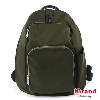 iBrand 率性時尚後開式防盜尼龍後背包(大)-墨綠色