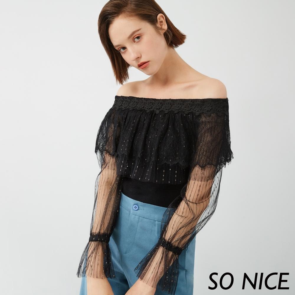 SO NICE優雅網紗一字領針織上衣