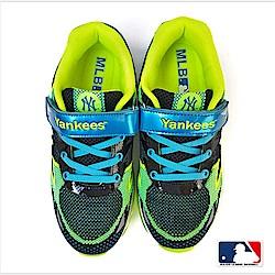 MLB大聯盟洋基網布設計避震氣墊運動鞋_童鞋款_黑/藍