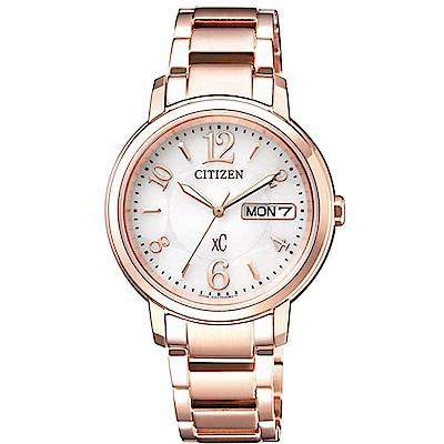 CITIZEN 星辰定XC 甜美知性光動能計時女用腕錶-玫瑰金EW2422-55