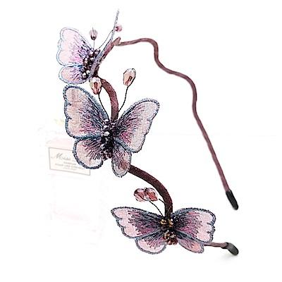 梨花HaNA 韓國手工藝術水晶刺繡蝴蝶谷髮箍