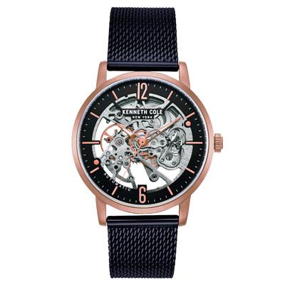 Kenneth Cole 奢華玫瑰金鏤空機械米蘭帶錶-43mm