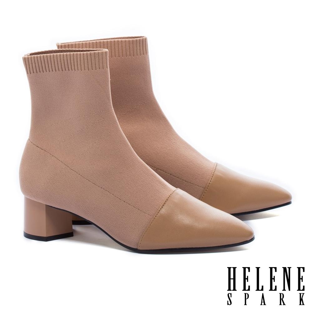 襪靴  HELENE SPARK 簡約摩登時尚異材質拼接羊皮高跟彈力襪靴-米
