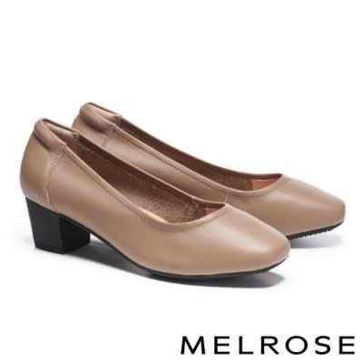 高跟鞋 MELROSE 簡約質感純色牛皮方頭高跟鞋-米