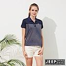 JEEP 女裝 簡約條紋短袖POLO衫-藍色