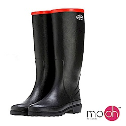 mo.oh愛雨天-皮飾拚色柔軟長筒雨鞋-黑色