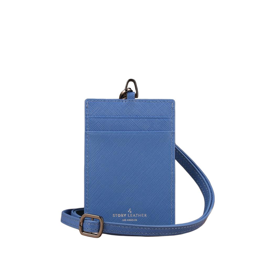 STORYLEATHER 牛皮證件夾 00469B-Y12 十字紋天空藍