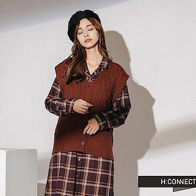 H:CONNECT 韓國品牌 女裝-麻花排釦針織背心-棕