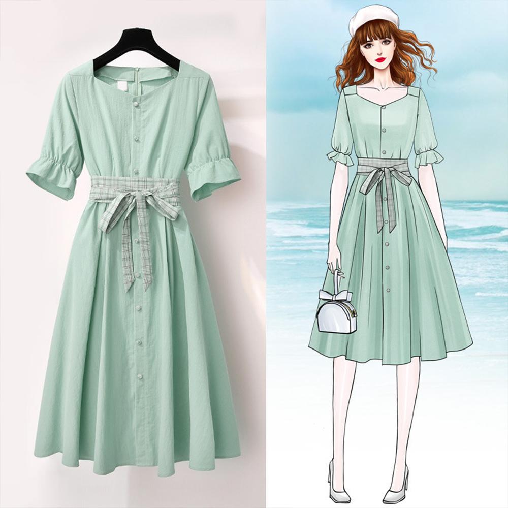 裙_初色氣質度假風方領連身裙-共2色-(M-2XL可選)|小洋裝|Yahoo奇摩