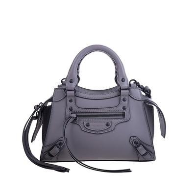 Balenciaga 新款Neo Classic MINI牛皮黑釦手提/斜背機車包 (灰色)