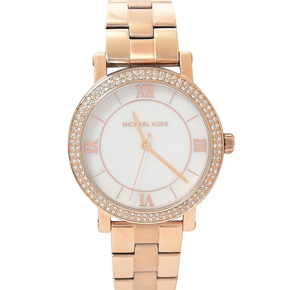 MICHAEL KORS 羅馬數字外圈水鑽不鏽鋼手錶(玫瑰金色)