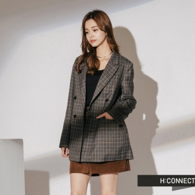 H:CONNECT 韓國品牌 女裝-翻領格紋西裝外套-黑