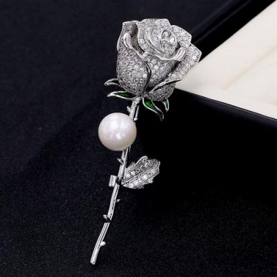 梨花HaNA 韓國細緻滿鑽玫瑰佳人天然珍珠胸針