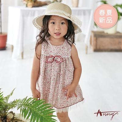 Annys安妮公主-小小花叢雙層蝴蝶結春夏款無袖BABY洋裝*9550紅色