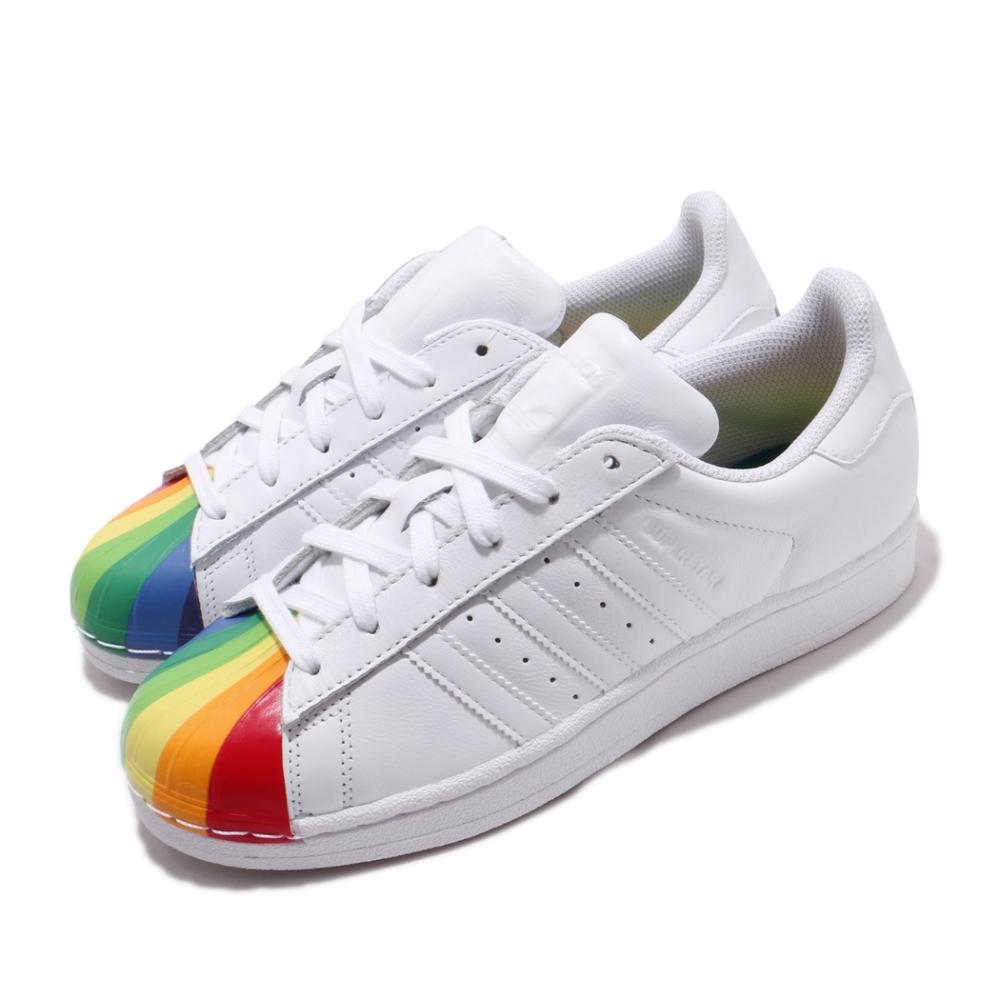 adidas 休閒鞋 Superstar 復古 低筒 女鞋 海外限定 愛迪達 三葉草 彩虹 貝殼頭 白 彩 EG8140