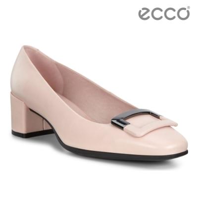 ECCO SHAPE 35 SQUARED 氣質方頭高跟鞋 女-玫瑰粉