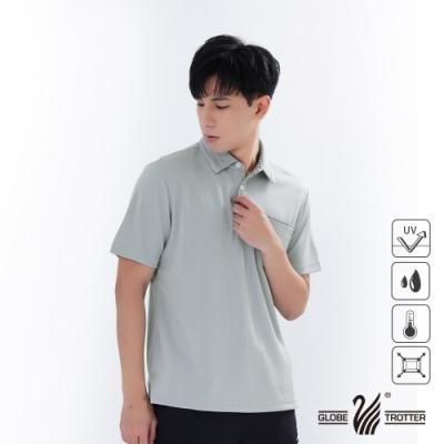 【遊遍天下】男款格紋抗UV吸濕排汗POLO衫GS1011淺灰