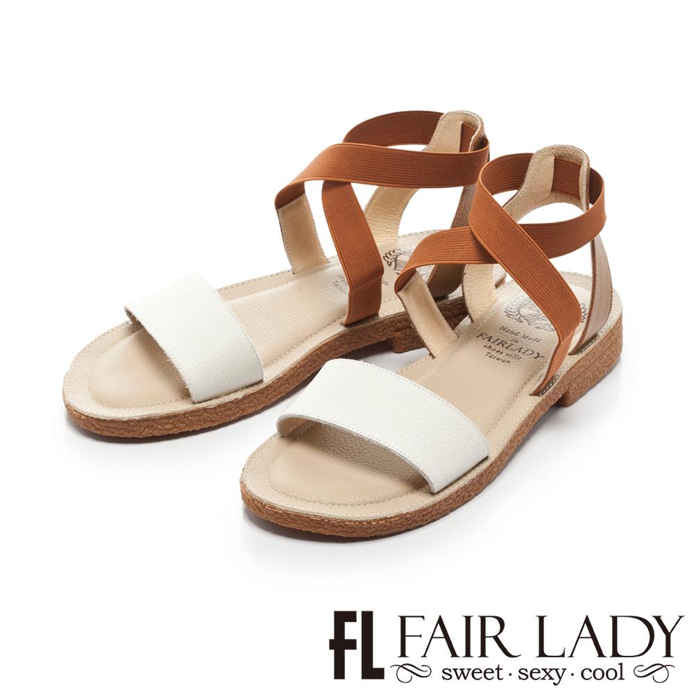 FAIR LADY 盛夏 時尚配色一字寬帶涼鞋 白