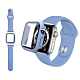 全包覆 Apple Watch Series SE/6/5/4 (40mm) 9H鋼化玻璃貼+錶殼+環保矽膠錶帶(淺紫) product thumbnail 1