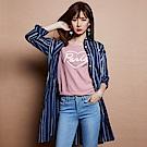 Victoria 直條長版落肩長袖襯衫-女-藍底直白條
