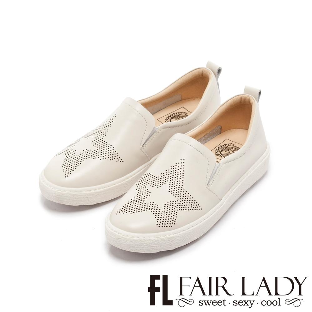 【FAIR LADY】Soft Power 軟實力星星造型樂福厚底休閒鞋 白
