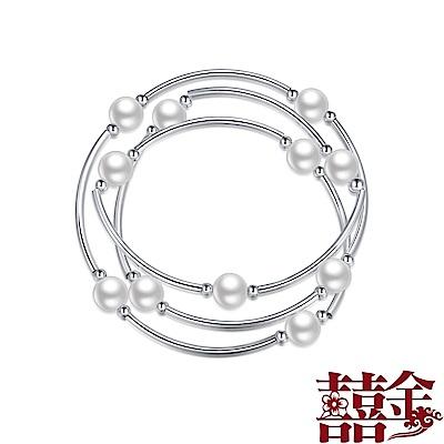 囍金時尚珍珠990足銀手鍊
