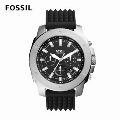 FOSSIL Mega Machine 重量級三眼男錶 黑色矽膠錶帶 50MM FS5715