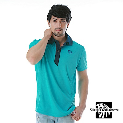Skywalkers 時尚款排汗POLO衫(青)