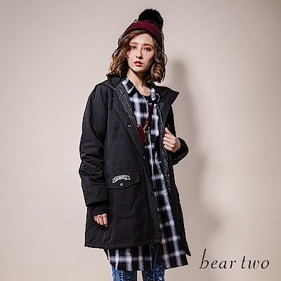 beartwo 軍裝休閒連帽長版大衣外套(二色)