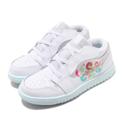 Nike 休閒鞋 Jordan 1 Low ALT 童鞋 喬丹 魔鬼氈 舒適 中童 穿搭 皮革 白 彩 BQ6066184