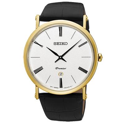 SEIKO 精工 Premier簡約薄款真皮手錶-SKP396J1-白X金框/41mm