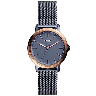 FOSSIL Neely簡約風尚米蘭帶手錶(ES4312)-灰藍X玫瑰金/34m