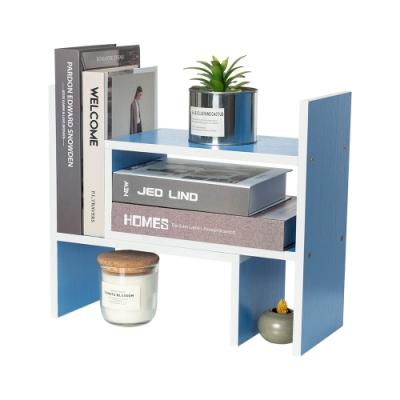 樂嫚妮 多用途收納置物書架/桌面/伸縮-天藍色-寬32.4~61.2X深17X高35cm