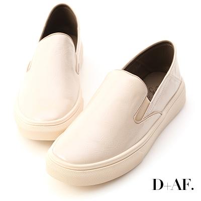 D+AF 百搭主流.漆皮可後踩休閒懶人鞋*米