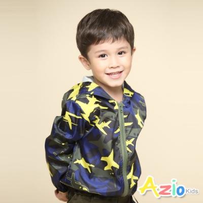Azio Kids 男童 外套  撞色迷彩飛機長袖連帽風衣外套(軍綠)