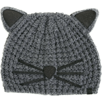 KARL LAGERFELD Choupette 金蔥細節黑色貓咪造型針織帽(灰色)