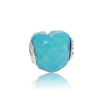 Pandora 潘朵拉 魅力愛心藍綠色水晶 純銀墜飾 串珠