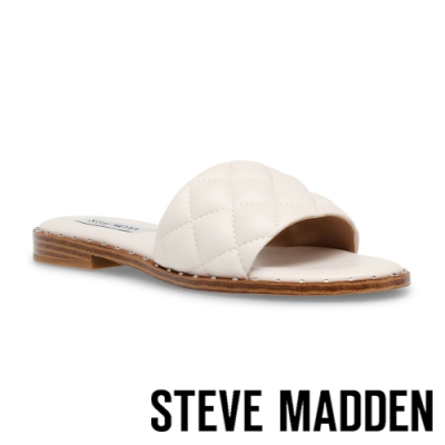 STEVE MADDEN-TELLEZ 低調方格紋平底涼拖鞋-米杏色