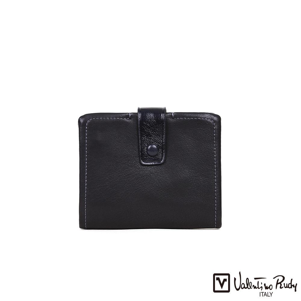 Valentino Rudy 女用柔軟頭層牛皮直式皮夾短夾-黑色VR31042