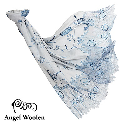 【Angel Woolen】曼妙舞姿印度手工cashmere蕾絲披肩-典雅藍