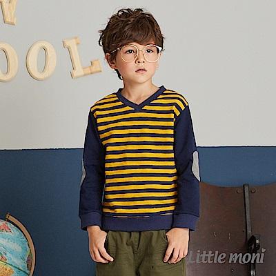 Little moni V領條紋上衣(2色可選)