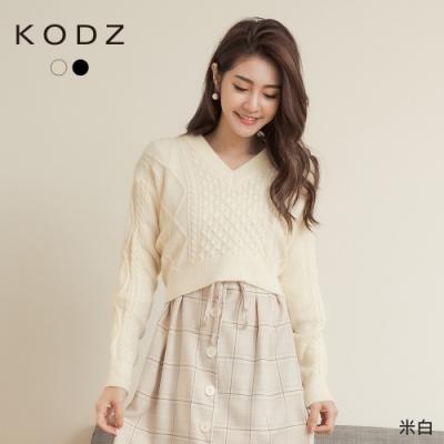 東京著衣-KODZ 迷人甜心V領後綁帶短版麻花針織毛衣(共二色)