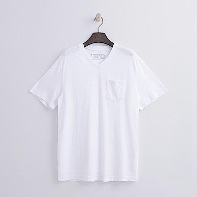 Hang Ten - 男裝 -有機棉 V領口袋竹節T恤-白色