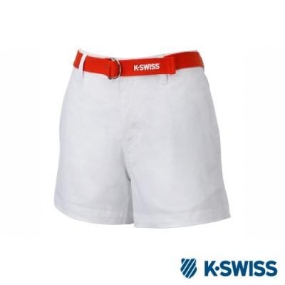 K-SWISS Cotton Twill Shorts時尚棉質短褲-女-白