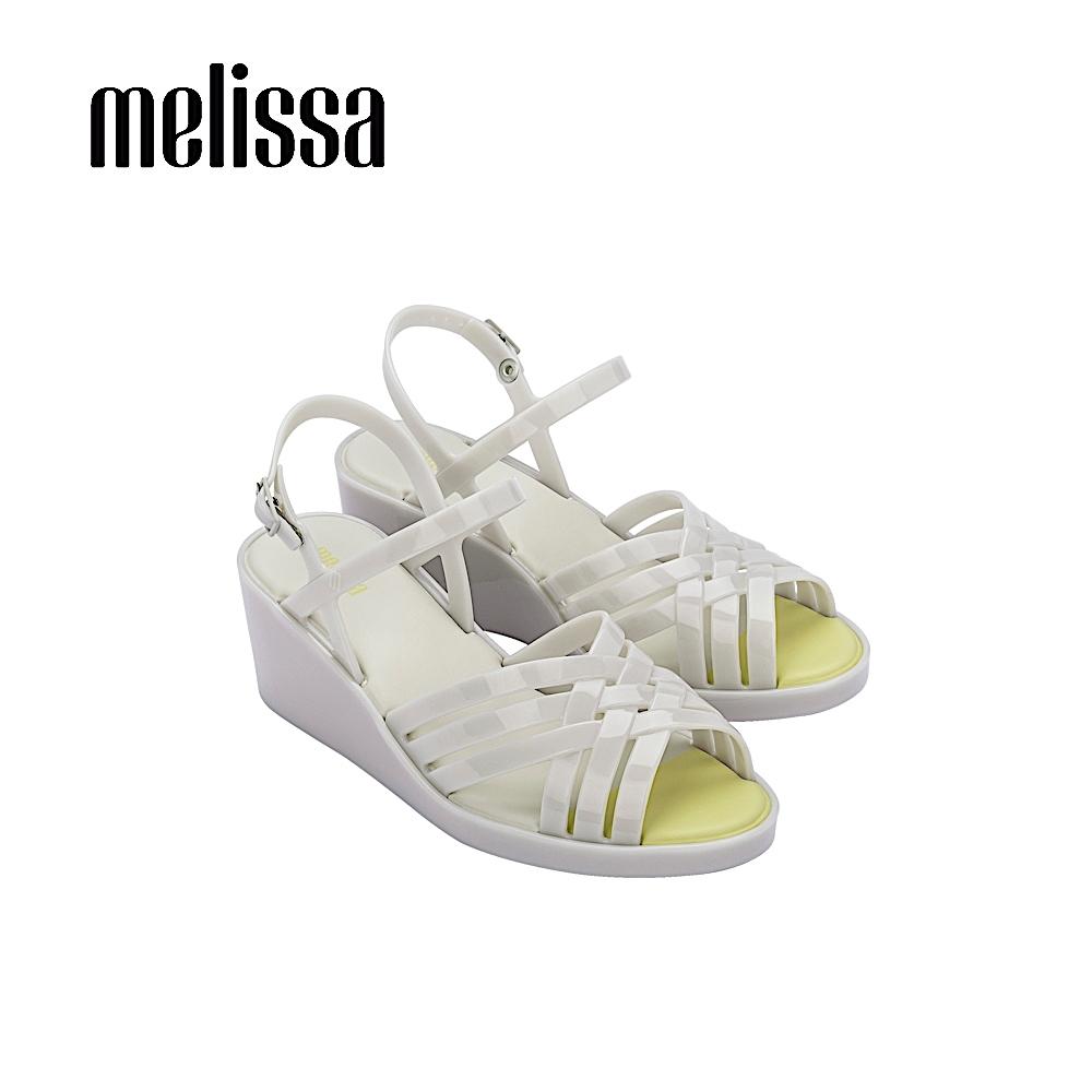Melissa   FLORA  果凍感交叉設計厚底涼鞋- 白