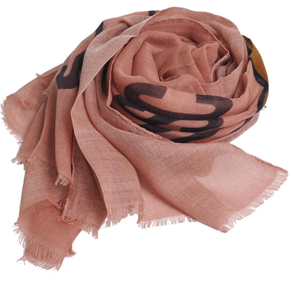 MOSCHINO品牌TOY小熊LOGO義大利製羊毛混蠶絲披肩/圍巾(粉紅色系)
